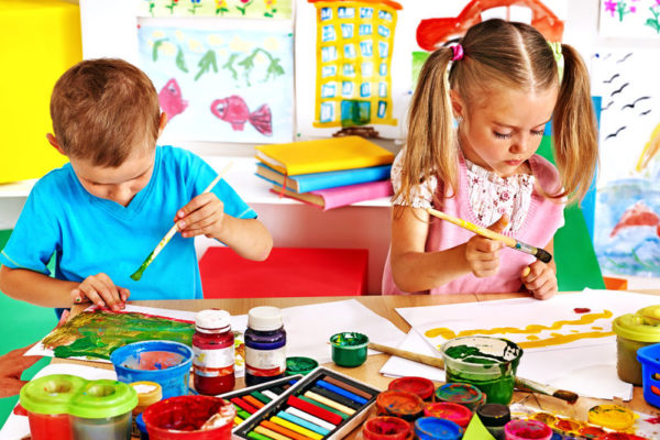 30839466 - happy children  boy and girl  painting.